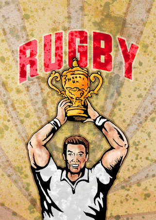 aloft: poster illustration of a rugby player raising championship world cup trophy with sunburst in background and grunge texture and words rugby