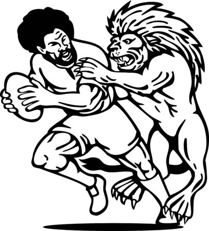 illustration of  a Rugby player running with ball attack by lion done in black and white illustration
