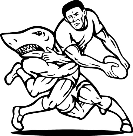 illustration of a Rugby player about to passing ball tackled attacked by shark done in black and white. illustration