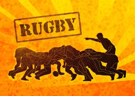 scrimmage: poster illustration of rugby players engaged in scrum with sunburst in background and grunge texture