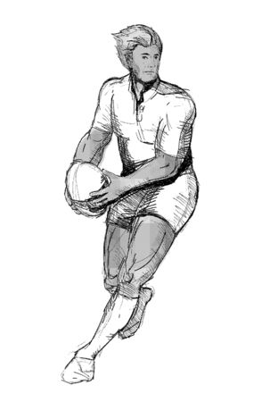 illustration of a Rugby player running passing ball black and white on isolated background illustration