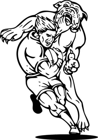 illustration of a rugby player running with the ball tackle attacked by a bulldog on isolated background done in black and white illustration