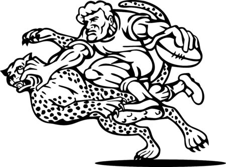 illustration of a rugby player running with the ball tackle attacked by a cheetah on isolated background done in black and white illustration