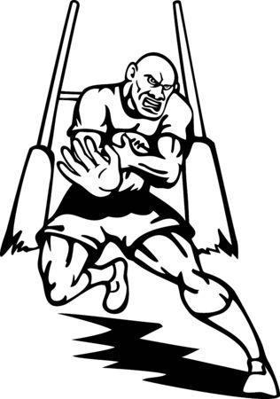 fend: illustrazione di un giocatore di Rugby in esecuzione con palla respingere con obiettivo post in background