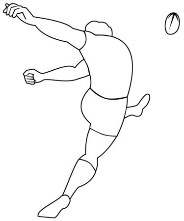 illustration of a Rugby player kicking ball viewed from rear done in black and white illustration