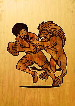 illustration of  a Rugby player running with ball attack by lion with grunge and wood grain texture background illustration