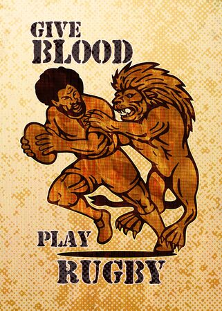 illustration of  a Rugby player running with ball attack by lion with grunge and wood grain texture background and words give blood play rugby illustration