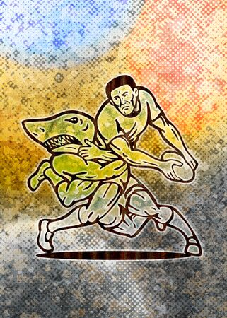 illustration of  a Rugby player running with ball attacked by shark with grunge  texture background illustration