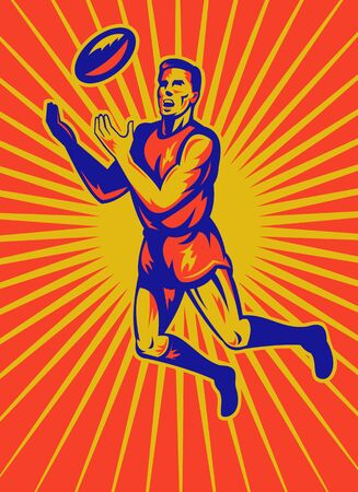 aussie: illustration of an aussie rules player jumping catching ball done in retro woodcut style.
