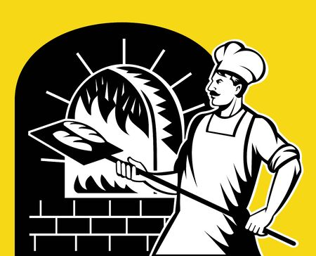 pan: retro style illustration of a baker holding baking pan into wood oven