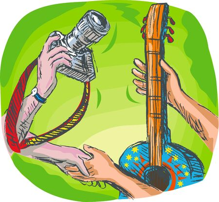 barter: full color hand sketched drawing vector illustration showing two hands swapping DSLR camera or photography shoot with guitar or guitar lessons