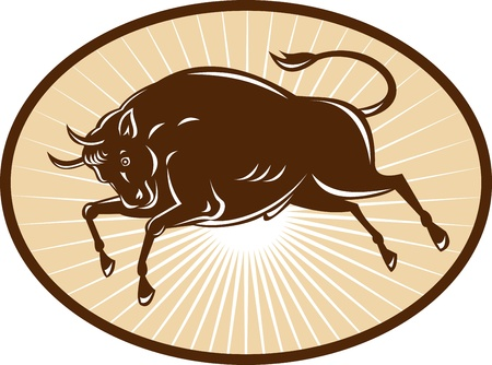texas longhorn cattle: illustration of a Texas Longhorn Bull attacking viewed from side set inside an ellipse done in retro style.