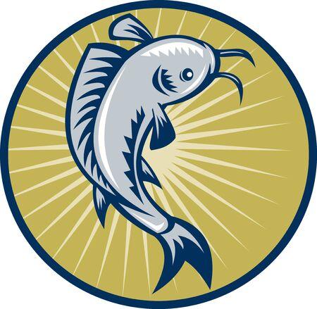 illustration of a Catfish jumping retro woodcut style set inside circle Stock Illustration - 9457460