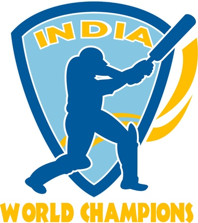 cricket sport: illustration of a cricket player batsman batting  ball Stock Photo