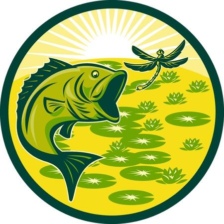 largemouth bass: Ilustraci�n de un bajo Micropterus saltando con lib�lula volando con pastillas de lily y sunburst en fondo conjunto dentro de un c�rculo en la xilograf�a retro  Foto de archivo