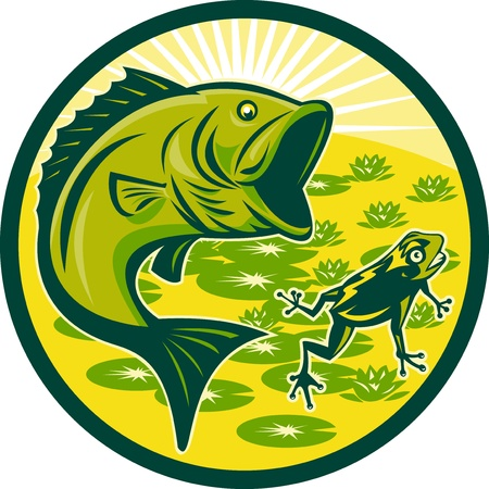 illustration of a largemouth bass jumping with frog and lily pads and sunburst in background set inside a circle done in retro woodcut Stock Illustration - 9453794