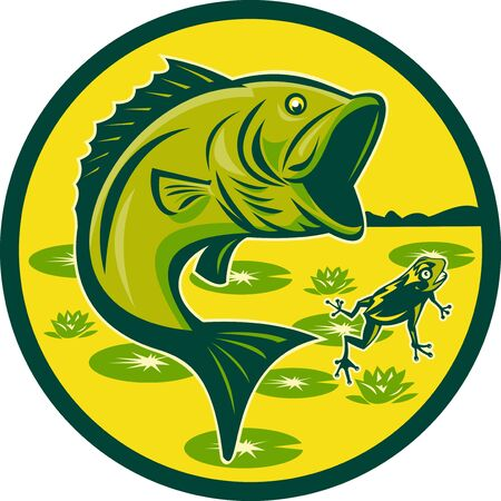 largemouth bass: illustration of a largemouth bass jumping with frog and lily pads set inside a circle done in retro woodcut