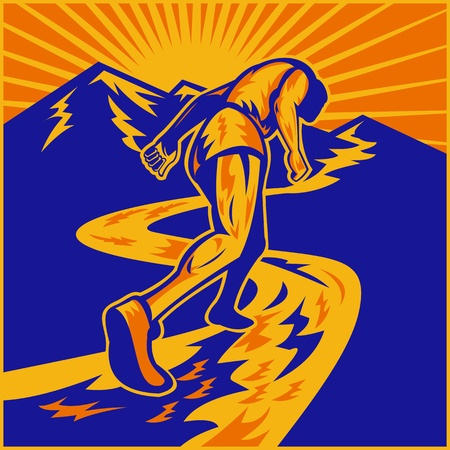 illustration of a marathon runner running on road with mountains in background done in retro woodcut style viewed from a low angle Stock Illustration - 9453777