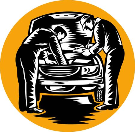 illustration of automobile car mechanic repairing vehicle done in retro woodcut style. illustration