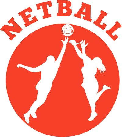 rebounding: illustration of a netball player jumping and rebounding for ball set inside circle and words netball