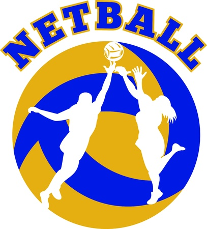 rebounding: illustration of a netball player jumping and rebounding for ball