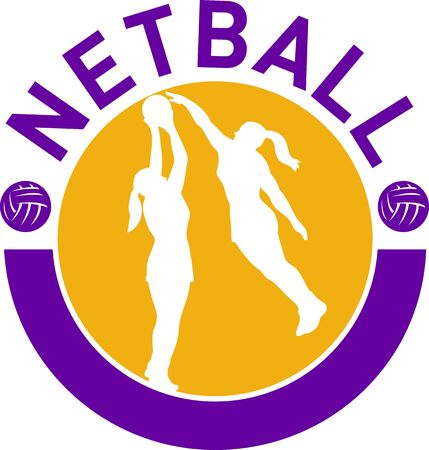blocking: illustration of a netball player shooting ball with another player blocking shot set inside circle with words netball