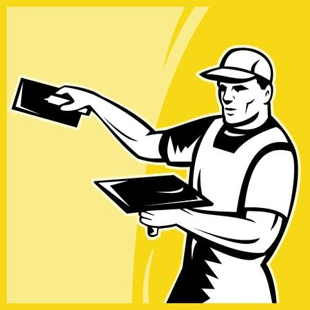 plasterer: illustration of a tradesman worker plasterer at work done in retro style set inside a square