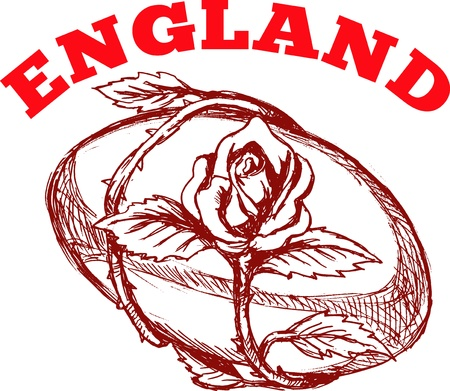 entwined: hand sketched drawing illustration of rugby ball with rose flower vine entwined on isolated background