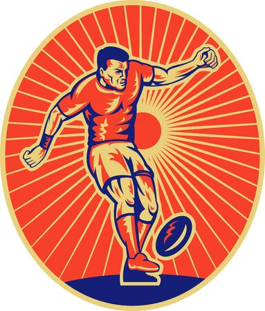 illustration of a rugby player kicking the ball set inside ellipse done in woodcut style. illustration