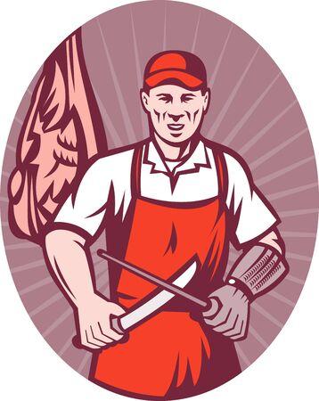 sacapuntas: Ilustraci�n de un carnicero de carne con cuchillo y sacapuntas en estilo retro dentro de un c�rculo con sunburst