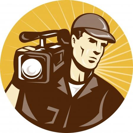 camara de cine: Ilustraci�n de un equipo de filmaci�n de camar�grafo tiro con c�mara de pel�cula de v�deo se establece dentro de c�rculo en estilo retro