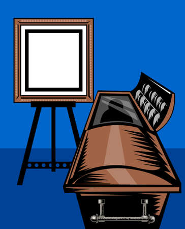 casket: illustration of a casket or coffin with picture frame on easel stand viewed from front done in retro style. Stock Photo