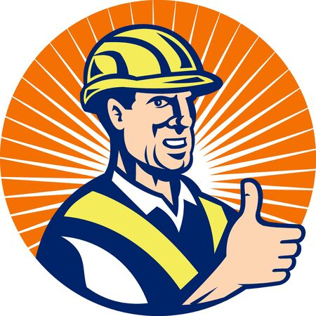 illustration of a construction worker thumbs up done in retro style set inside circle Stock Photo