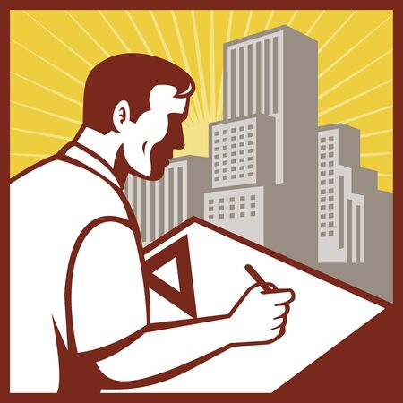 draftsman: illustration of an architectural draftsman at work drawing on board with building in background set inside square Stock Photo