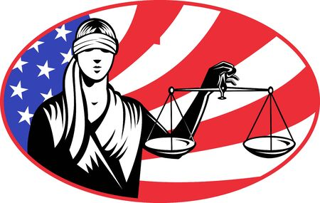 scale of justice: illustration of a lady with blindfolds holding scales of justice with american stars and stripes flag in background set inside ellipse.