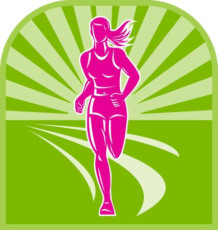illustration of a female marathon runner front view with sunburst in background done in retro style Stock Photo