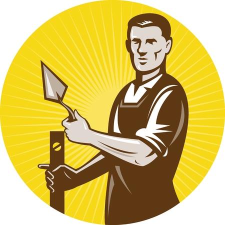bricklayer: Ilustraci�n de un trabajador de la construcci�n de alba�il mason yesero en el trabajo hecho en estilo retro