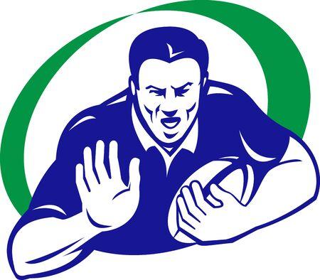 fend: illustrazione di un giocatore di rugby con palla difendendo via isolato su sfondo bianco, fatto in stile retr�