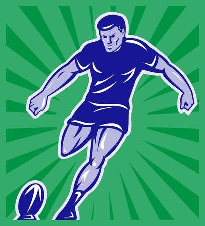 kicking ball: illustration of a rugby player kicking ball front view with sunburst in background done in retro style