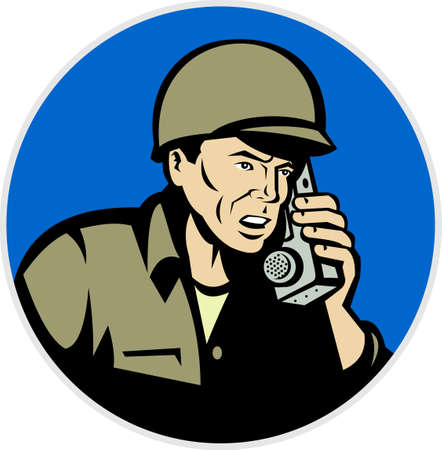 world war two: illustration of a world war two soldier talking on radio walkie talkie phone  done in retro style set inside circle