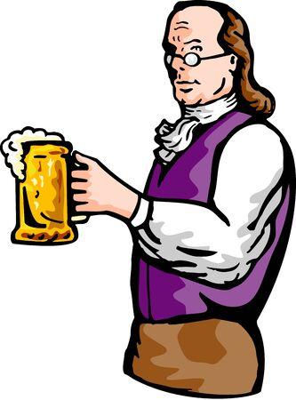 founding: illustration of a Benjamin Franklin or noble aristocratic gentleman holding mug of beer