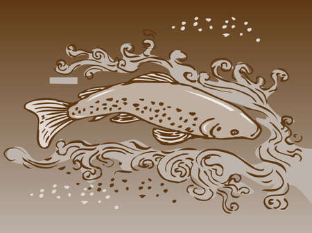 speckled trout: sketch style vector illustration of a speckled trout swimming underwater Stock Photo