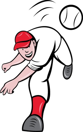 throwing ball: illustration of a baseball player pitcher throwing ball cartoon style isolated on white Stock Photo