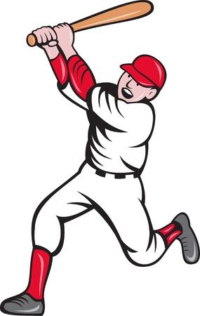 illustration of a baseball player batting cartoon style isolated on white illustration
