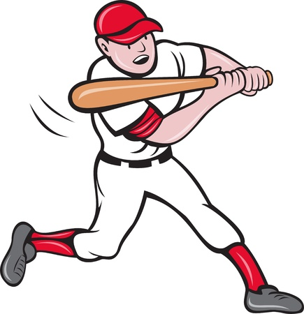 batter: illustration of a baseball player batting cartoon style isolated on white Stock Photo