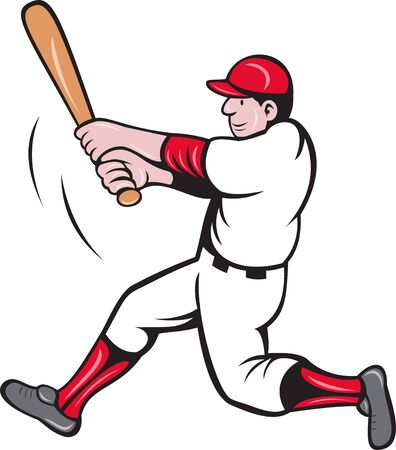 baseball cartoon: illustration of a baseball player batting cartoon style isolated on white Stock Photo