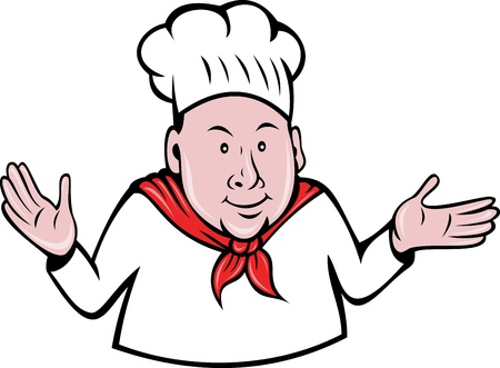 cook out: illustration of a chef, cook or baker hands out done in retro style Stock Photo