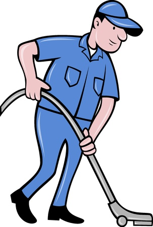 vacuum cleaner worker: illustration of a Male worker cleaning with vacuum cleaner viewed from side on isolated background done in cartoon  style Stock Photo