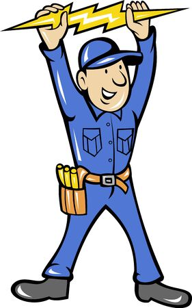 electrician: illustration of a electrician holding up an electric lightning bolt standing front  done in cartoon style on isolated background