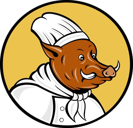 illustration of a cartoon chef wild boar pig looking to side set inside a circle illustration